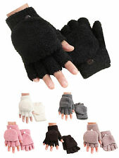 Men Women Winter Coral fleece Fingerless Half Finger Flip Knitted Glove Mittens