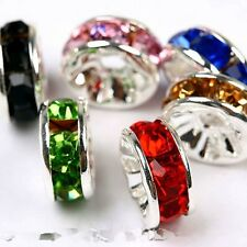 100pcs Czech Crystal Rhinestone Rondelle Spacer Beads Bead Cap 8mm
