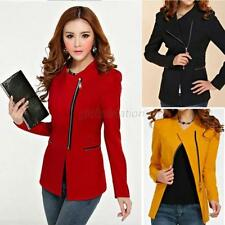 Women Blazer Zipper Suit Puffs Sleeve Feminino Casual Ruffles Slim Jacket Coats