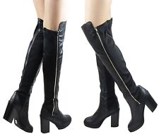 LADIES BLACK OVER THE KNEE THIGH STRETCHY ELASTIC GOLD ZIP BLOCK BOOT SIZE 3 - 8