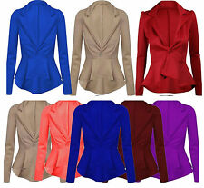 Womens Ladies Crop Frill Slim Fit Fitted Peplum Blazer Jacket Coat UK 4-22 ScbJk