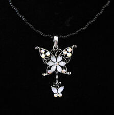 CRYSTAL BUTTERFLY PENDANT CHARM WITH BLACK BEADS BEADED CHAIN NECKLACE