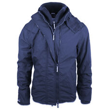 Superdry Mens Pop Zip Hooded Arctic Windcheater Winter Jacket Navy (#8975)