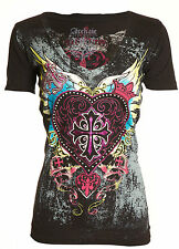 Archaic AFFLICTION Womens T-Shirt DARLING Heart Tattoo Biker Sinful S-XL $40 a