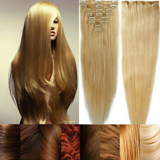Elegant Weft Clip In Remy Human Hair Extensions Full Head US Crazy Price E081