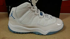 AIR JORDAN 11 RETRO BP (PS) XI YOUTH 378039-117 WHITE//LEGEND BLUE-BLACK IN HAND