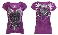 Archaic AFFLICTION Womens T-Shirt DARLING Heart Tattoo Biker Sinful S-XL $40 b
