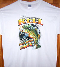 THE REEL DEAL Fishing T Shirt Sz Sm - 6XL Wild Freshwater Angler Largemouth Bass