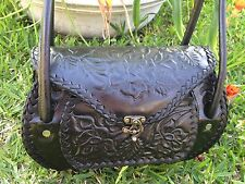 Mexican Handmade Black Tooled Leather Purse Bolsa Mexicana Hecha a Mano de Piel