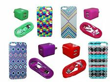 Geometric Fashion Trendy New Hard Cover Case For Iphone 4 Dual Wall & 6 Ft Cord