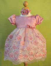 New Baby Girls Dusty Rose Pink Dress Easter Christmas Pageant Party Fancy
