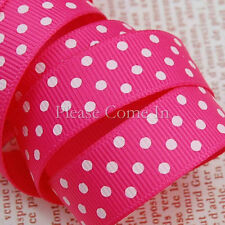 "Grosgrain Ribbon 16mm 5/8"" Hot Pink/White Swiss Dot"