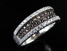 Ladies Lab Diamond Chocolate Ruby Engagement Ring In White Gold Finish 7MM