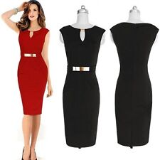 Gold-tone Hardware OL Keyhole Women's Business Career Party Wiggle Pencil Dress