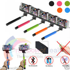 Extendable Selfie Wired Stick Phone Holder Remote Shutter Monopod For iPhone HTC