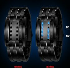 Tungsten Steel Date Digital LED Binary Time Bracelet Sport Watches Dressy