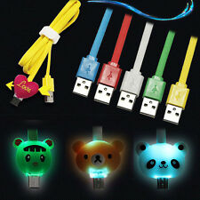 1M Micro Data Sync LED Light Cute Cartoon Charger Cable For Iphone 5 Samsung HTC