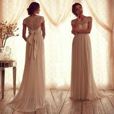 Vintage Ivory Long Bridemaid Evening Pageant Cocktail Formal Prom Wedding Dress
