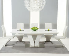 White High Gloss V-Shape 7 Piece Extending Dining Table Set (Z Chairs)