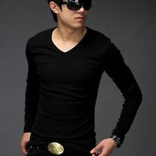 Elactic Lycal Cotton Men's Slim Tight Muscle Fit Long Sleeve V Neck T Shirts Tee