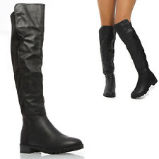 Black PU Leather Over Knee High Lycra Wide Leg Stretch Low Stack Heel Tall Boots