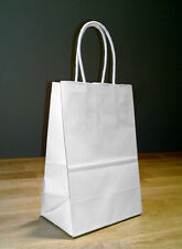 5x4x8 (approximate) Small White Paper Shopping Gift Bags with Rope Handles