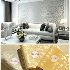 New Embossed Feature Textured Non-woven Grapevine Flocking Damask Wallpaper Roll