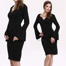 Graceful Womens Celeb Long Sleeve Wrap Hip Cocktail Stretch Bodycon Black Dress