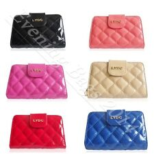 Ladies Girls Designer LYDC Quilted Patent Leather Clutch Purse Press Wallet 73