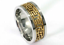 Silver & Gold Tone Greek Key Stainless Steel Spin Ring MR148