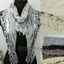 Women's Flower Lace Stitching Cotton Gauze Sequin Trim Tassel Triangle Scarf New
