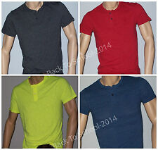 Mens AMERICAN EAGLE AE SS HENLEY GUYS Black Blue Red Neon Yellow ALL SIZES