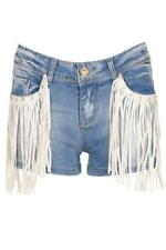 Womens Ladies White PU Tassel Stone wash Denim Shorts Hotpants