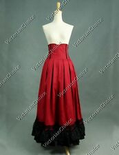 Victorian Edwardian Red High-Waisted Pleated Period Walking Skirt Reenact K035