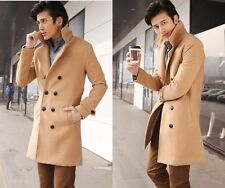 Hot Men's Trench Coat Winter Wool Blend Double Breasted Long Slim Overcoat Parka