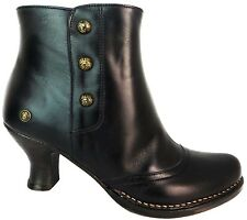 Neosens S815 Rococo Women's Ebony Black Leather Zip Up High Heel Ankle Boots New