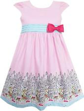 Sunny Fashion Girls Dress Bow Tie City Building Car Print Pink Sundress Size 3-8
