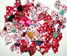 Puppy Bows ~  VALENTINE'S DAY HEART DOG GROOMING BOWS ~ HANDCRAFTED IN THE USA