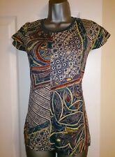 ♥ NEW Desigual Pure Cotton Beige  Teal Abstract Panelled Print Tee 6 8 10 ♥