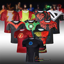 Superhero Costume T-shirt Short Sleeve Jersey Compression Running Cycling Tops
