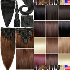 Black Brown Blonde Clip In Remy Human Hair Extensions Full Head TANGLE FREE E520