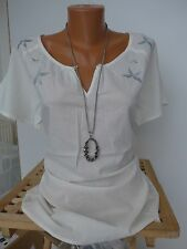 Tamaris Tunic Blouse Shirt Size 36 - 46 Cream White With Embroidery (874) NEW