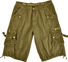 MENS MILITARY-STYLE 100% COTTON SOLID COLOR CARGO SHORTS SIZE 30-54 #12211S
