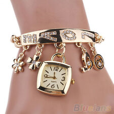 Women's Chic Perfect Love Rhinestone Stainless Steel Chain Bracelet Wrist Watch