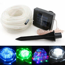 100LEDs Solar Power Rope Light Tube String Ourdoor Garden Fairy Party Waterproof