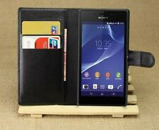 Book Flip Leather stand Case Cover For Sony Xperia Z1 Mini  + Screen protector
