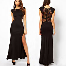 Womens Sexy Fitted Side Slit Open Back Lace Dress Party Club Evening Long Dress