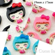Kawaii Flat Back Resin Japanese Doll with Bow Cabochon Decoden
