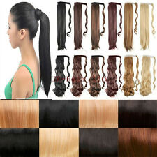 US Clearance Sale New 18 Colors Wrap Around Ponytail Hairpiece Curly Wavy Black