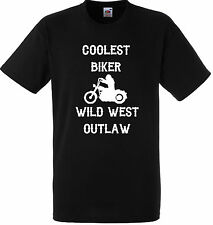 PERSONALISED COOLEST BIKER WILD WEST OUTLAW T SHIRT GIFT GANG BLACK MOTORBIKE